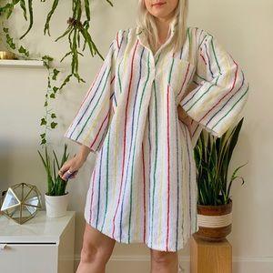 1970s plus size rainbow striped terry cloth tunic